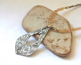sterling citrine and pyrite necklace