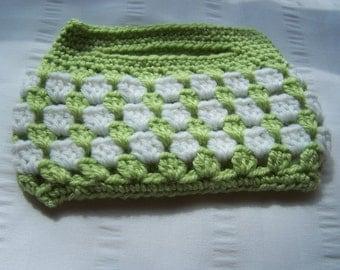 Small crochet handbag white green ready to ship