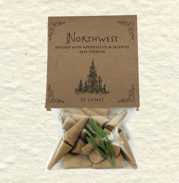 "Northwest Blend Incense Cones ""Quite Mind"" with Apophyllite and Selenite Gem Essences, Cedarwood, Amber, Lavender, Patchouli"
