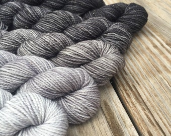 Sparkle Blackbeard's Revenge Hand Dyed Gradient Sock Yarn Mini Skein Set 475 yards Sparkle Yarn stellina superwash merino silver gray black