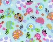 Cute Turtles Fabric Blue Turtle Print - Galaxy Tweetie Pie Fabric - 100% Cotton - By the Fat Quarter, Half Yard or Yard