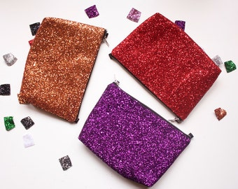 Bright red glitter party clutch - glitter sparkle purse, going out bag