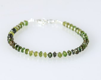 Green tourmaline  and sterling silver beads bracelet
