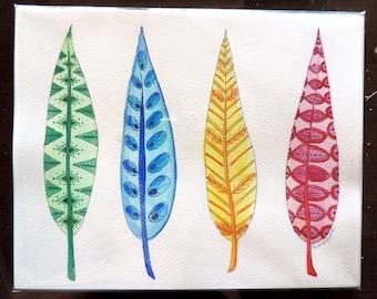 Original Watercolor Feather Painting Artwork