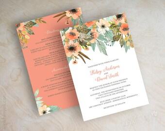 Fall Wedding Invitation - Autumn Wedding Invitations - Floral Wedding Invitations - Coral Wedding Invitations - Peach Wedding Invite - Jaida