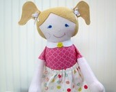 Rag Doll Blonde Cloth Doll Blue Eyes Coral Pink Ready to Ship
