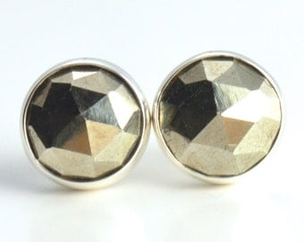 rose cut pyrite 8mm sterling silver stud earrings pair