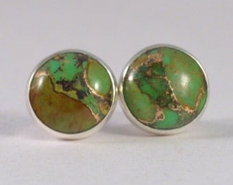 green mojave turquoise with copper 8mm sterling silver stud earrings pair