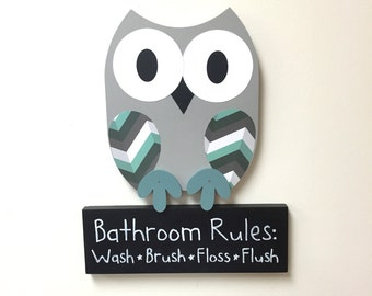 owl bathroom decor, bathroom rules sign, wooden owl decor, children's bathroom, owl wall decor, wall art, owl room decor, bathroom sign