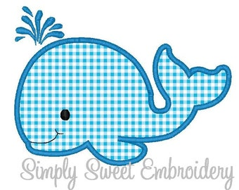 Cute Whale Applique Machine Embroidery Design