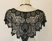 Black 1920's beaded cape - Vintage beaded cape - Sharmark of Las Vegas.