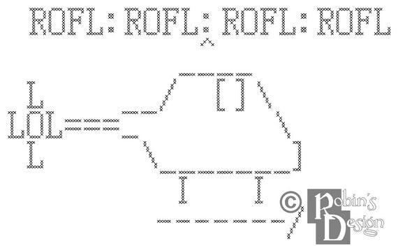 ROFLcopter Cross Stitch Pattern PDF
