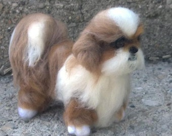 Shihtzu needle felted soft sculpture