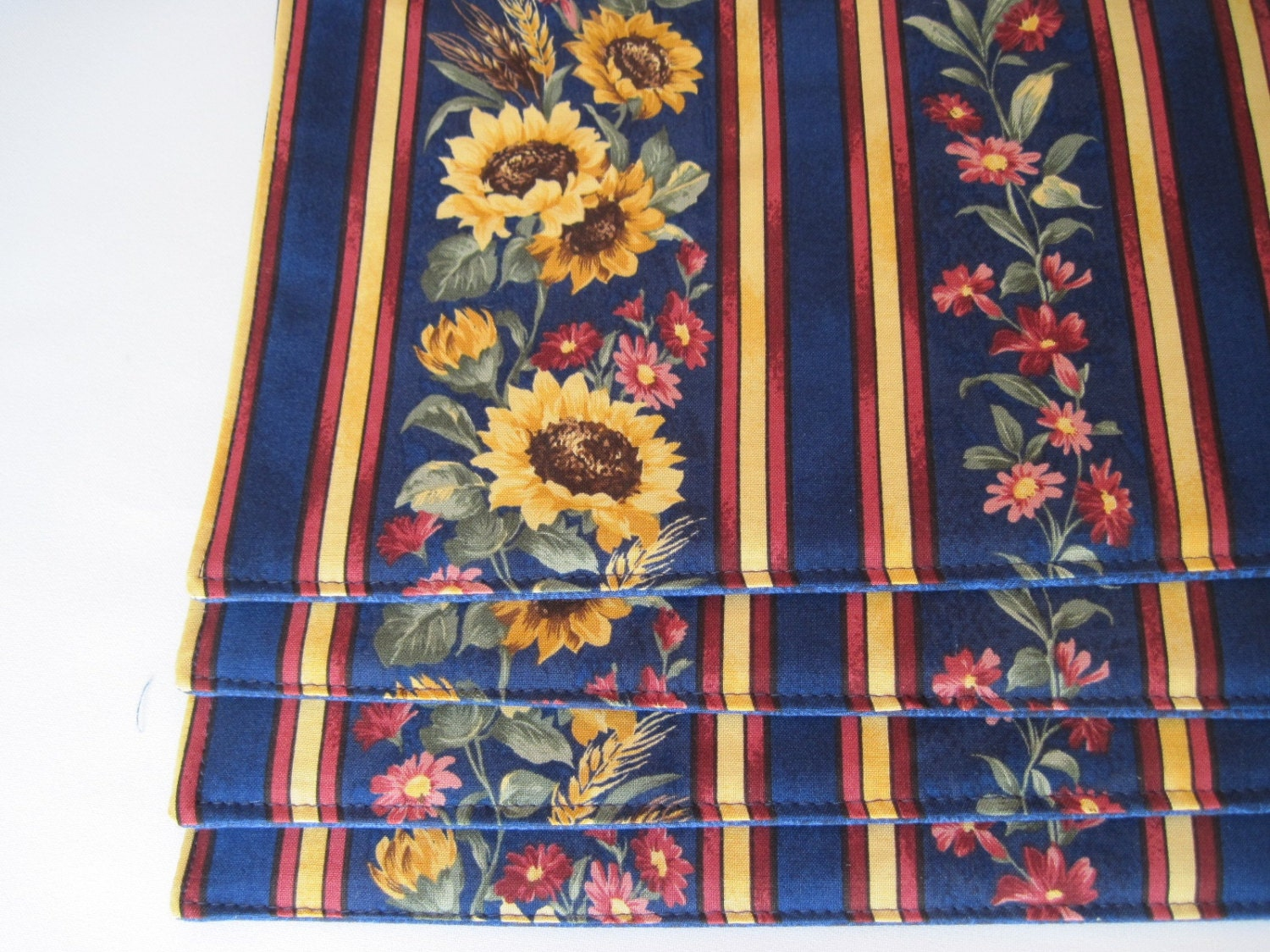 Navy Blue Sunflower Placemats Reversible Blue Placemats Blue