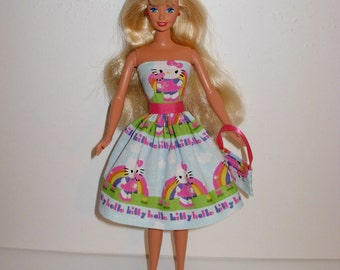 Handmade barbie clothes, CUTE Hello Kitty dress and bag 4 barbie doll