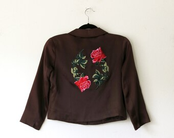 Rose Satin Jacket / 90s Satin Jacket / Patch Brown Jacket Size Small S