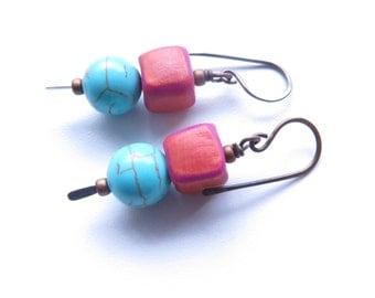 Skewer pink blue dangle earrings by Sasha+Max, australian made jewellery