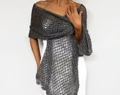 Metallic Evening Stole Shawl, Antracite Gray Silver Long Scarf Shimmering Crochet Bridesmaids Cover-up Mother of Bride, Bridal Shoulder Wrap
