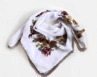 Boho Printed Scarf, Bohemian Bandana Women Fashion White Cheesecloth Turban Floral Printed, Muslin Authentic Scarf, Tatting Lace Trim,  OOAK