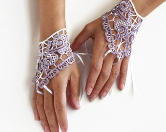 Lilac Fingerless Gloves, Lace Evening Formal Gloves, Hand Charms, Purple Shiny Lace, Glitter, Modern Wedding Handmade