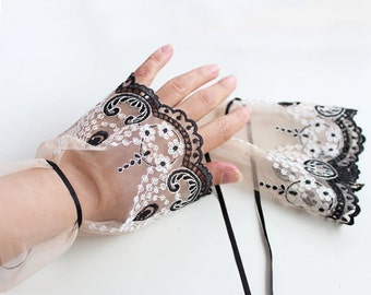 Fingerless Tulle Gloves, Bridal Hand Charm, Wrist Cuffs, Tan Color, Black  White Embroidery, Handmade, Unique Design