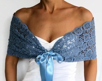 Blue Lace Shrug, Shoulder Wrap, Evening Scarf Shawl, Cotton Lace Bridal Bolero, Top Capelet, Cape, Women Fashion