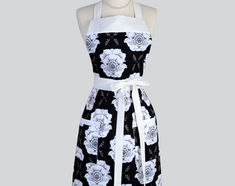 Full Bib Womens Apron / Large White Floral on Black in a Cute Full Vintage Inspired Kitchen Apron Personalize or Monogram