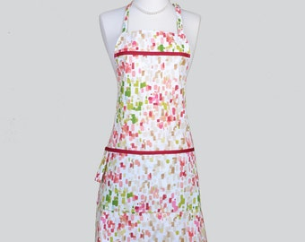 Full Chef Retro Apron . Womans Cute Kitchen Cooking Apron in Multi Colored Paint Splashes Single Sided Cute Vintage Chef Apron