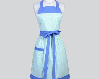 Full Bib Womens Aprons / Cute Modern Womans Apron in Basketweave Lime Green and Denim Blue Womans Kitchen Cooking Chef Apron Personalize