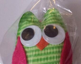 Whimsical Green Stripe Owl Ornament