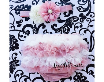 BABY BLOOMER and HEADBAND-Baby Set- Vintage pink and Cream, baby girl ruffle Bloomer, diaper cover , Baby girl Headbands, newborn Bloomer