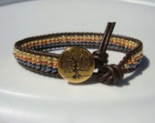 Gold, Copper and Hematite Leather Bracelet with Tree of Life Button