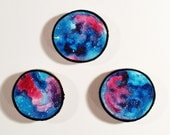 Galaxy Trio 005 - Watercolour Paintings on a Woodslices - Set of Three