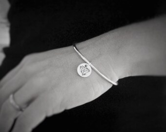 Sterling Silver Bangle Bracelet with Lotus Flower Charm, Hand stamped Pewter Charm, Yoga Gift, Yoga Instructor Gift, Meditation, Relaxation