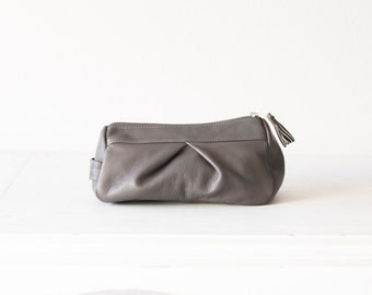 Grey accessory bag, cosmetic case makeup bag pencil case zipper pouch travel case toiletry bag - Estia Bag