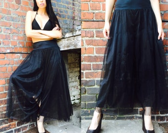 Vintage Dancewear Pants with Tulle Skirt Overlay size Large Black
