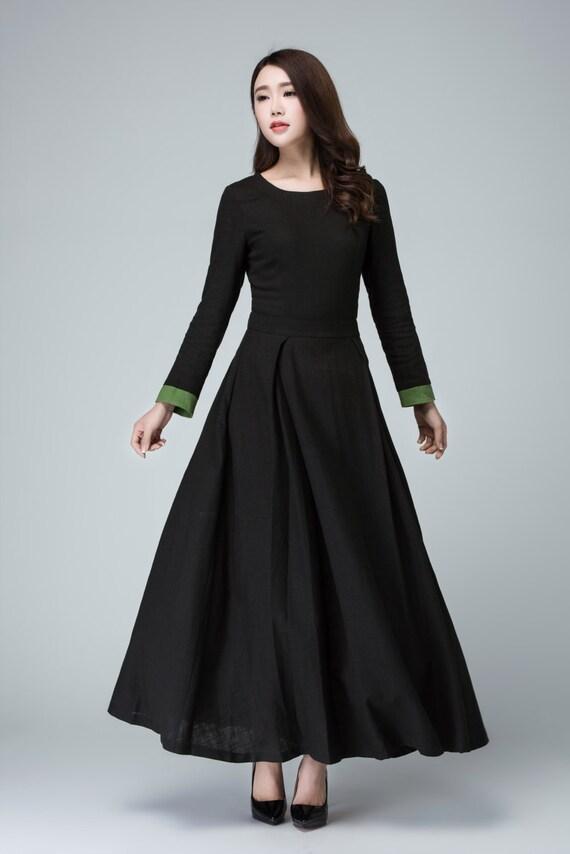 Long sleeve black dress maxi