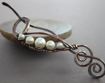 Shawl pin or scarf pin in peas in a pod design with copper and white pearls
