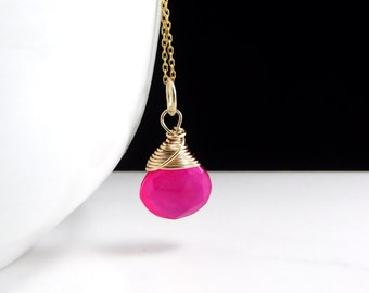 Hot Pink Pendant Wrapped in 14k Gold  ~ Pink Stone Pendant ~ Handmade - Pink Necklace ~ AdoniaJewelry
