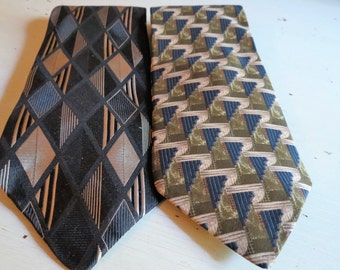 A Pair of Vintage Geometric Neckties by ZYLOS George Machade