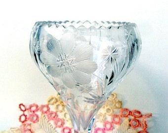 VALENTINES SALE Vintage EAPG Crystal Wheel Cut Floral Vase, 1910s,Imperial Glass?,Wheel Cut Daisies,Snowflakes,Cut Sunbursts,Pedestal Compot