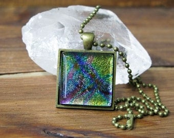 SALE! Dichroic Glass, gift for her, Fused Glass pendant, Square necklace, gifts under 25, statement necklace, colourful jewelry, art glass