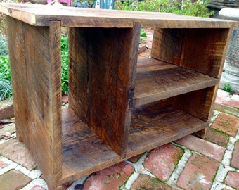 """Entry Furniture - Shoe Storage - Bench - Entryway - Table - Rustic Home Decor - Mud Room - Bookshelf - 28"""" Wide - Shown in Navajo Barn Wood"""