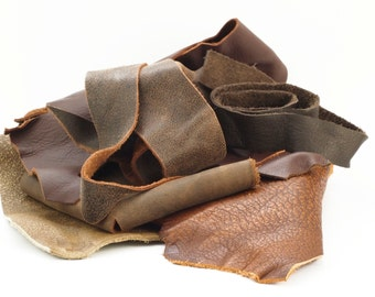 8 ounces Brown Leather Scraps