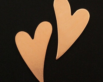 4 Stylish Copper Heart Stamping Blanks, Discs - Filed and Polished - 27mm X 17mm