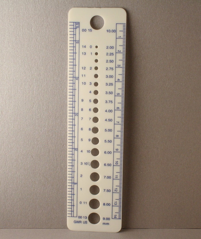Knitting Gauge Ruler : Simple knitting needle gauge ruler