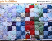 "15% OFF SALE Hand Made Babies Patchwork Quilt for Crib Hand Tied Vintage but Never Used 27"" x 41"""