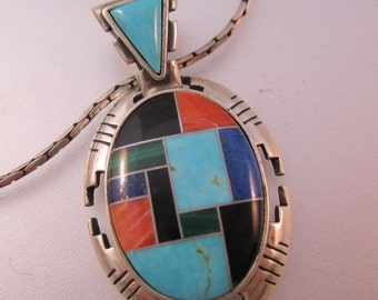 15% OFF SALE Carolyn Pollack Carlisle CJ Signed Sterling Silver Inlaid Gemstone Pendant Necklace Native American