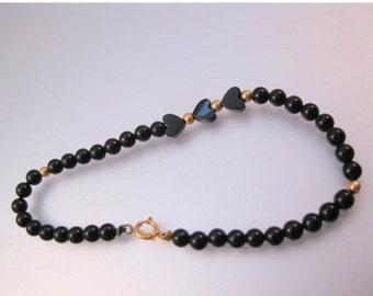 BIGGEST SALE of the Year 14k Black Onyx Heart Beaded Bracelet Vintage Fine Jewelry Jewellery