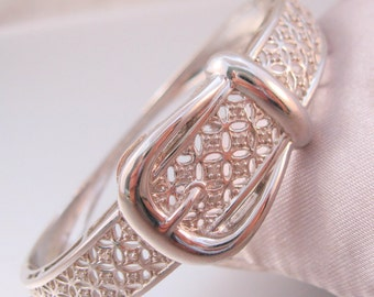 Vintage Designer Harlequin Diamond Buckle Bangle Bracelet Hinged Platinum Plated Signed CU Fine Jewelry Jewellery